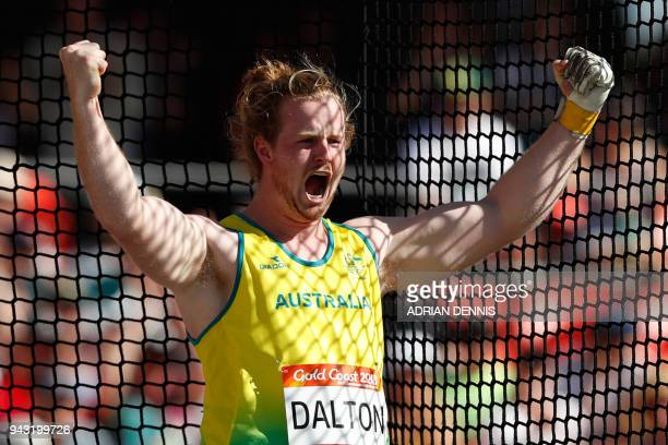 Australia's Jack Dalton competes in the athletic's men's hammer throw final during the 2018 Gold Coast Commonwealth Games at the Carrara Stadium on...