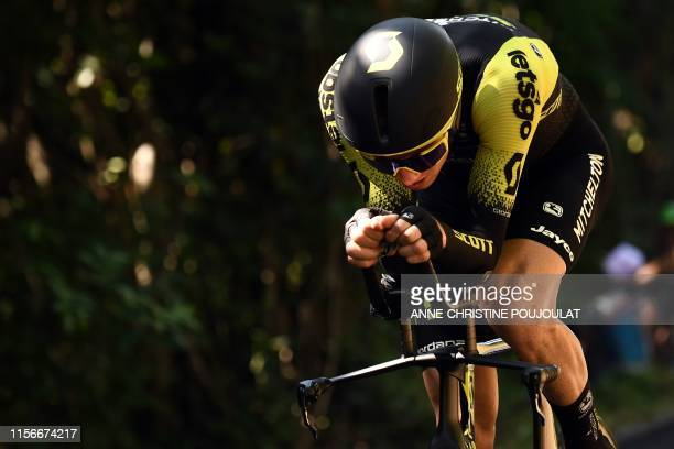 Australia's Jack Haig rides during the thirteenth stage of the 106th edition of the Tour de France cycling race, a 27,2-kilometer individual...