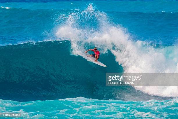 TOPSHOT Australia's Jack Robinson competes during the Sunset Beach Pro surfing event on the north shore of Oahu Hawaii on December 2 2019 /...