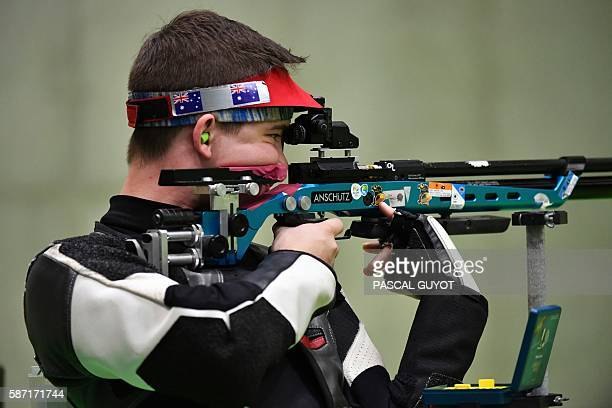 Australia's Jack Rossiter competes during the 10m Air Rifle Men's at the Olympic Shooting Centre in Rio de Janeiro on August 8 during the Rio 2016...