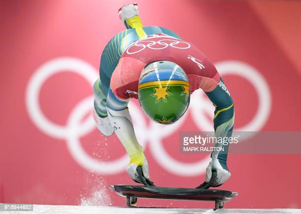 Australia's Jackie Narracott competes in the women's skeleton heat 1 run during the Pyeongchang 2018 Winter Olympic Games at the Olympic Sliding...