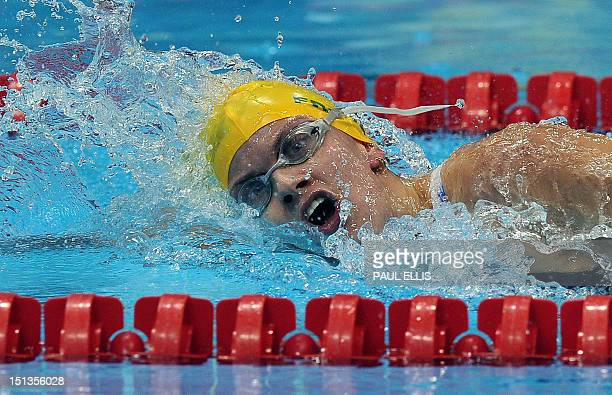 Australia's Jacqueline Freney competes in the women's 400m freestyle S7 swimming final during the London 2012 Paralympic Games at the Olympic Park...