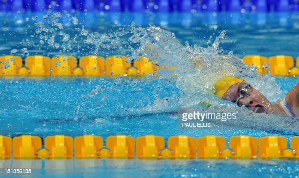 Australia's Jacqueline Freney swims to victory in the women's 400m freestyle S7 swimming final during the London 2012 Paralympic Games at the Olympic...