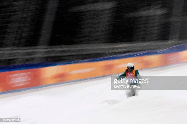 Australia's Jakara Anthony competes in the women's moguls final 3 during the Pyeongchang 2018 Winter Olympic Games at the Phoenix Park in Pyeongchang...
