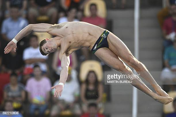 Australia's James Connor takes part in the Men's 10m Platform Preliminary during the diving event at the Rio 2016 Olympic Games at the Maria Lenk...
