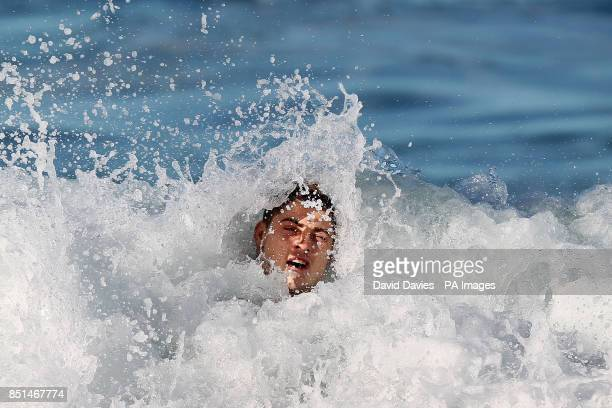 Australia's James O'Connor a recovery session at Coogee Beach Sydney in Australia