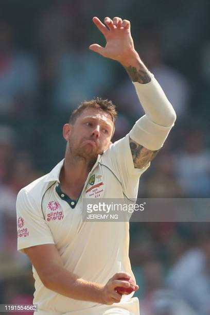 Australias James Pattinson bowls during the second day of the third cricket Test match between Australia and New Zealand at the Sydney Cricket Ground...