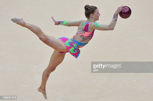 Australia's Janine Murray performs her ball program during the individual all-around qualifications of the rythmic gymnastics event of the London...