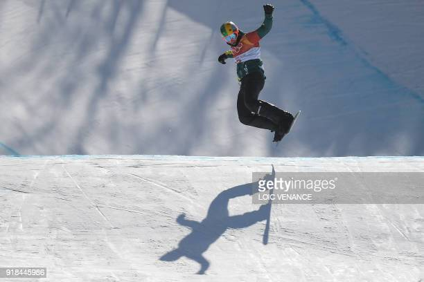 Australia's Jarryd Hughes competes during the men's snowboard cross seeding event at the Phoenix Park during the Pyeongchang 2018 Winter Olympic...