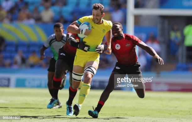 Australia's Jesse Parahi runs with the ball against Kenya during Rugby Sevens on day 11 of the Gold Coast 2018 Commonwealth Games at Robina Stadium...