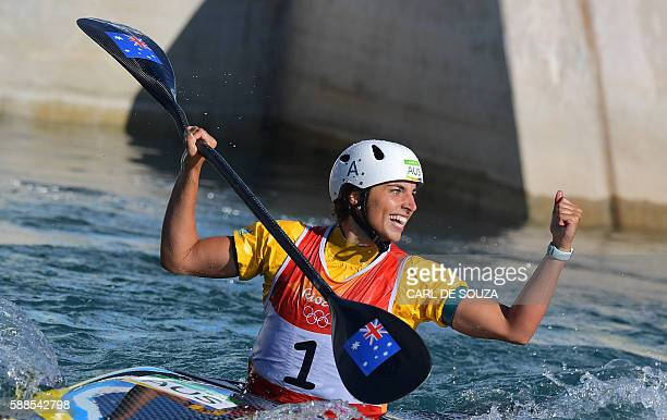 Australia's Jessica Fox celebrates after the Women's K1 final kayak slalom competition at the Whitewater stadium during the Rio 2016 Olympic Games in...