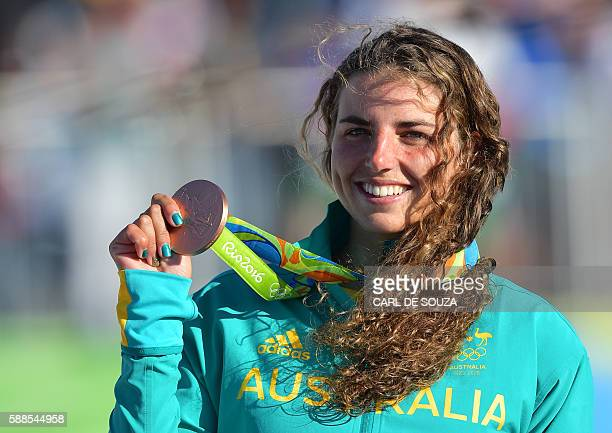 Australia's Jessica Fox celebrates on the podium of the Women's K1 final kayak slalom competition at the Whitewater stadium during the Rio 2016...
