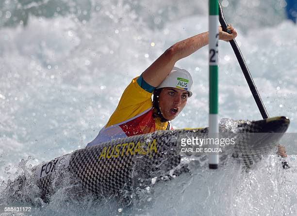 Australia's Jessica Fox competes in the Women's K1 semifinal kayak slalom competition at the Whitewater stadium during the Rio 2016 Olympic Games in...
