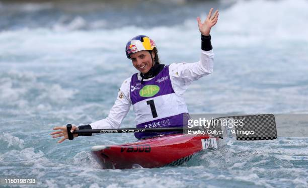 Australia's Jessica Fox reacts during day three of the Canoe Slalom World Cup at Lee Valley White Water Centre London