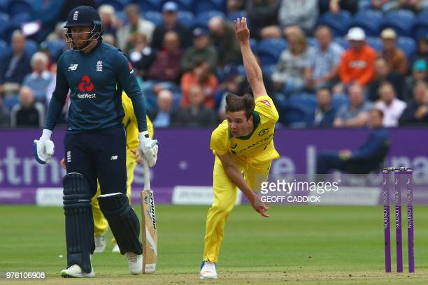 Australia's Jhye Richardson bowls the first over during play in the 2nd One Day International cricket match between England and Australia at Sophia...