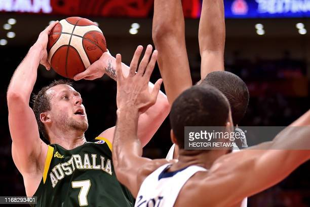 Australia's Joe Ingles takes a shot during the Basketball World Cup third place game between France and Australia in Beijing on September 15 2019