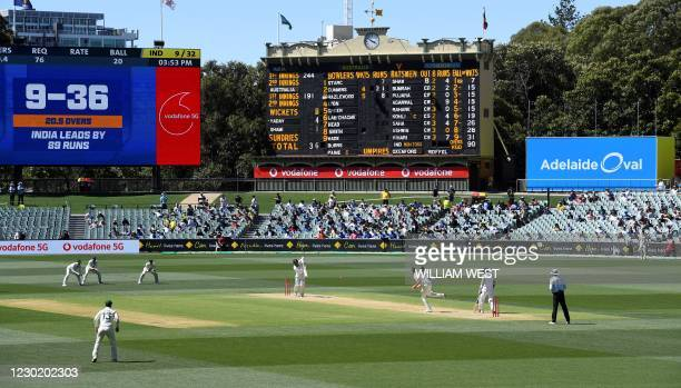 Australia's Josh Hazlewood bowls to the Indian batsman as India is dismissed for only 36 runs on the third day of the first cricket Test match...