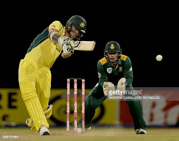 Australia's Josh Hazlewood plays a shot during a Oneday International cricket match between South Africa and Australia in the TriNation Series in...