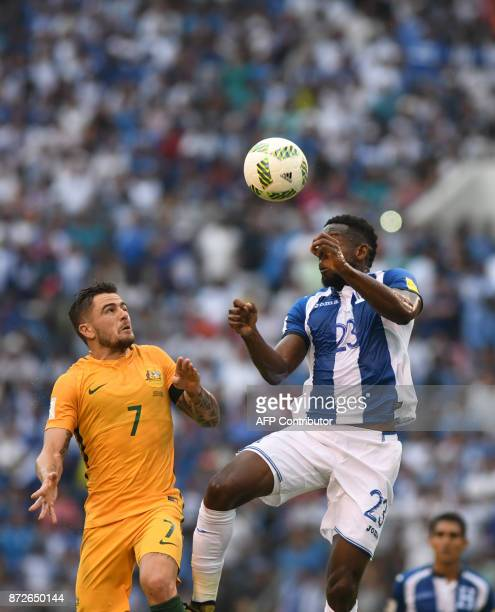 Australia's Josh Risdon and Honduras' Johnny Palacios vie for the ball during the first leg football match of their 2018 World Cup qualifying playoff...