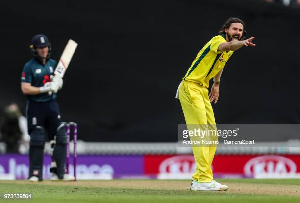 Australia's Kane Richardson appeals during the Royal London 1st ODI match between England and Australia at The Kia Oval on June 13 2018 in London...