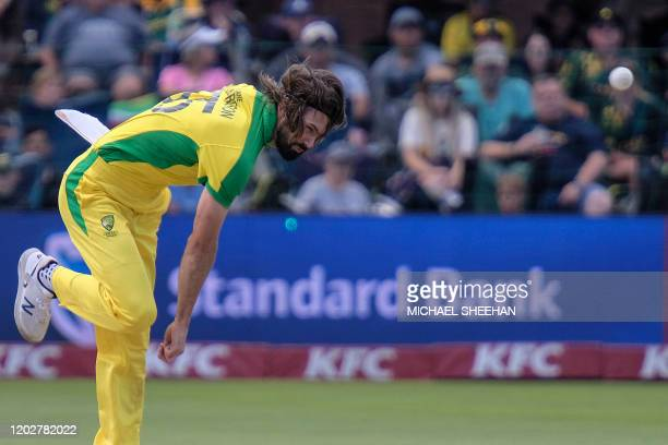 Australia's Kane Richardson bowls during the second T20 international cricket match between South Africa and Australia at the St George's Park...