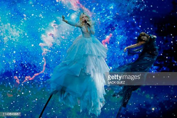 TOPSHOT Australia's Kate MillerHeidke performs the song Zero Gravity during the first semifinal of the 64th edition of the Eurovision Song Contest...