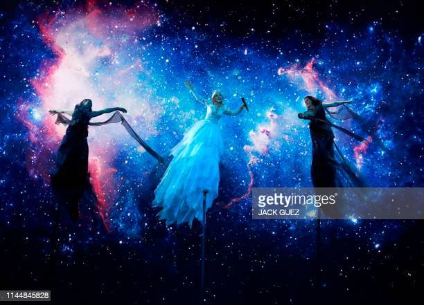 TOPSHOT Australia's Kate MillerHeidke performs the song Zero Gravity during the Grand Final of the 64th edition of the Eurovision Song Contest 2019...