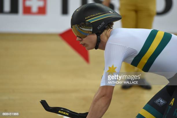 Australia's Kelland O'Brien competes during the men's individual pursuit final for bronze at the Hong Kong Velodrome during the Track Cycling World...