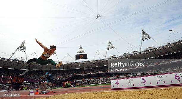 Australia's Kelly Cartwright competes in the Women's Long Jump F42/44 Final athletics event during the London 2012 Paralympic Games at the Olympic...