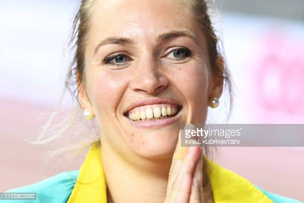 Australia's KelseyLee Barber celebrates taking gold in the Women's Javelin Throw final at the 2019 IAAF Athletics World Championships at the Khalifa...