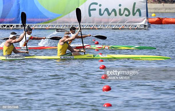 Australia's Ken Wallace and Australia's Riley Fitzsimmons compete in the Men's Kayak Four 1000m semifinal at the Lagoa Stadium during the Rio 2016...