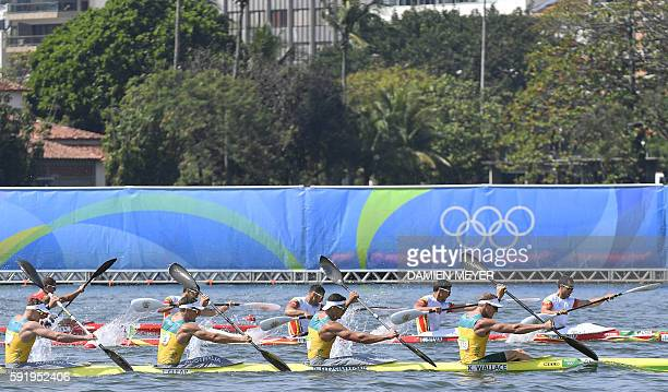 Australia's Ken Wallace Australia's Riley Fitzsimmons Australia's Jacob Clear and Australia's Jordan Wood compete in the Men's Kayak Four 1000m...