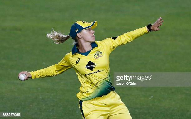 Australia's Kristen Beams throws the ball during the Women's One Day International match between Australia and England on October 26 2017 in Coffs...