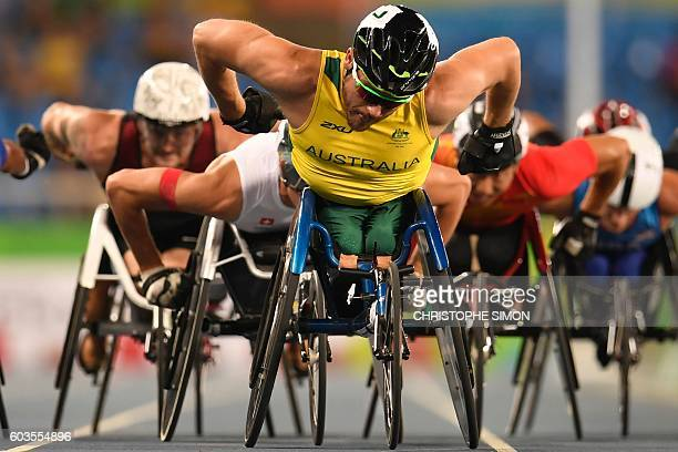 Australia's Kurt Fearnley competes in the men's preliminary 1500m wheelchair race at the Olympic Stadium during the Paralympic Games in Rio de...