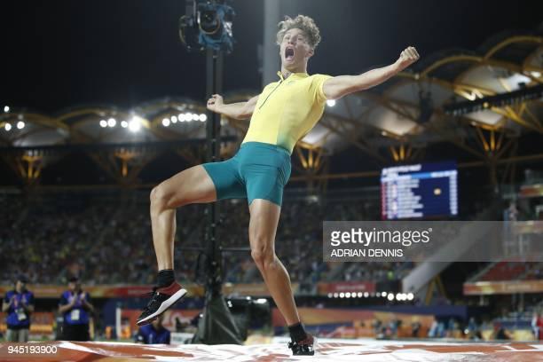 Australias Kurtis Marschall celebrates in the athletics men's pole vault final during the 2018 Gold Coast Commonwealth Games at the Carrara Stadium...