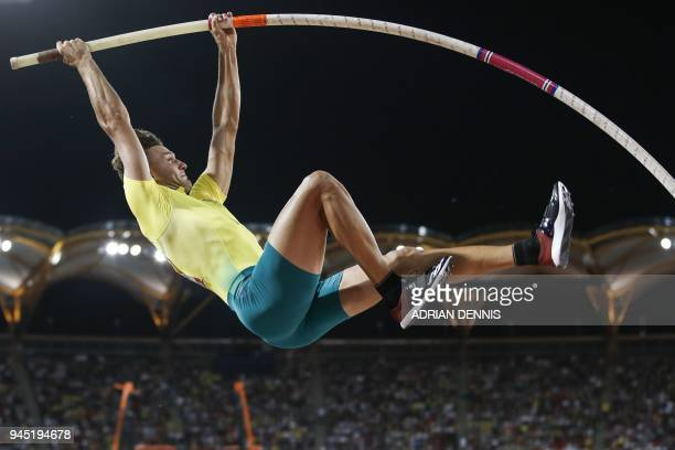 TOPSHOT Australias Kurtis Marschall competes in the athletics men's pole vault final during the 2018 Gold Coast Commonwealth Games at the Carrara...