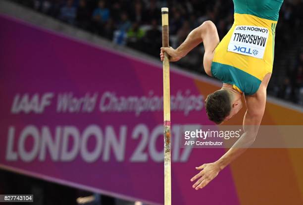 Australia's Kurtis Marschall competes in the final of the men's pole vault athletics event at the 2017 IAAF World Championships at the London Stadium...