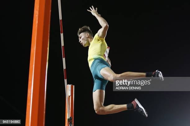 Australias Kurtis Marschall reacts in the athletics men's pole vault final during the 2018 Gold Coast Commonwealth Games at the Carrara Stadium on...