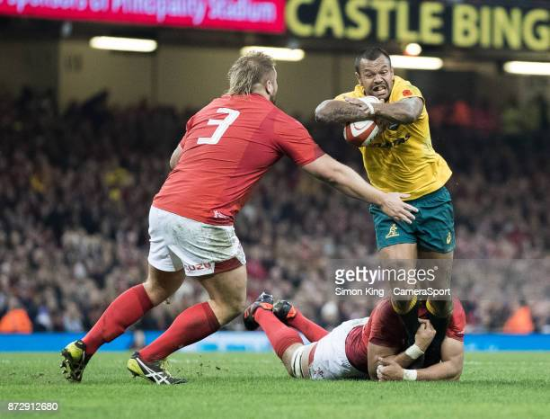 Australia's Kurtley Beale is tackled by Wales' Taulupe Faletau during the 2017 Under Armour Series match between Wales and Australia at Principality...