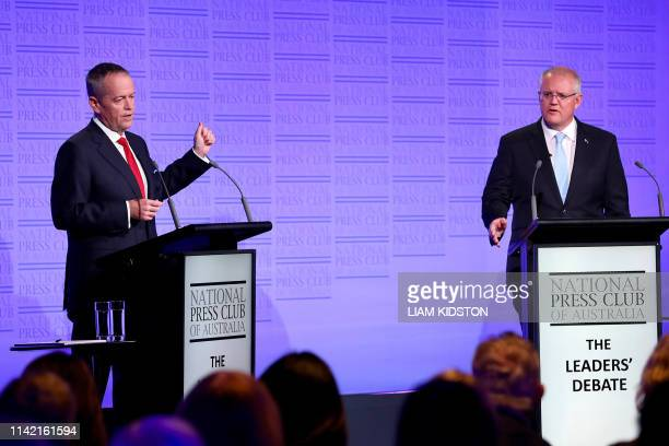 Australia's Labor leader Bill Shorten and Liberal leader and prime minister Scott Morrison take part in The Leaders' Debate at the National Press...