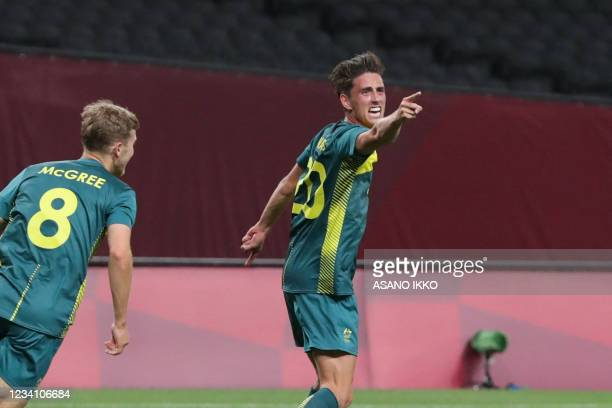 Australia's Lachlan Wales celebrates after scoring during the Tokyo 2020 Olympic Games men's group C first round football match between Argentina and...