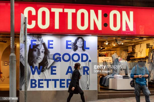 Australia's largest clothing retailer Cotton On store and logo seen in Hong Kong