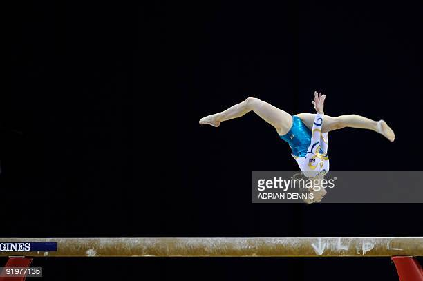 Australia's Lauren Mitchell performs in the balance beam event in the apparatus finals during the Artistic Gymnastics World Championships 2009 at the...