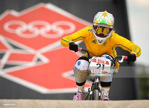 Australia's Lauren Reynolds powers down the track during the seeding run in the BMX competition at the Olympic park at the 2012 olympic games in...