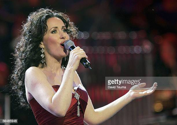 Australias leading lady of musical theatre Marina Prior performs at the 2005 Carols by Candlelight on December 24 2005 in Melbourne Australia