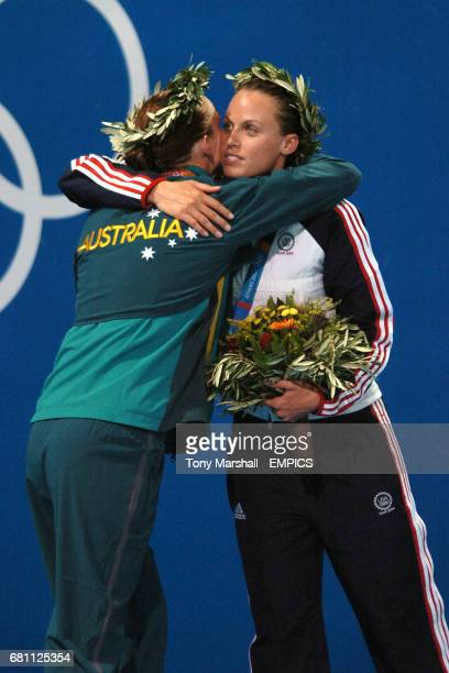 Australia's Leisel Jones and USA's Amanda Beard congratulate eachother after receiving their medals
