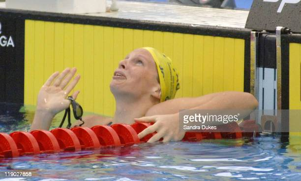 Australia's Leisel Jones looks skyward after her win in the 100 meter Breast Stroke Final in the XI Aquatic Fina World Championship in Montreal,...