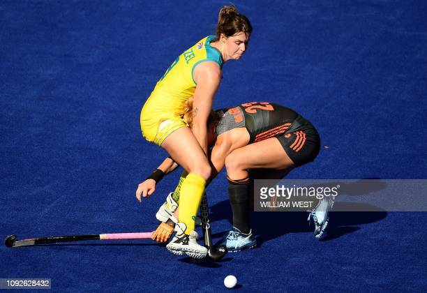 Australia's Lily Brazel tackles Netherlands' Margot van Geffen during their FIH Pro League hockey match in Melbourne on February 2 2019 / IMAGE...