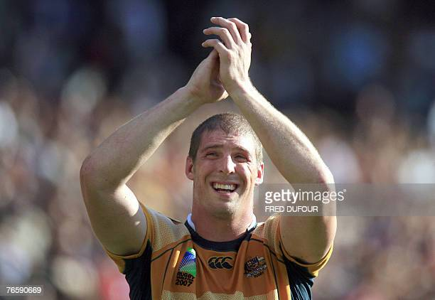 Australia's lock Daniel Vickerman celebrates after the rugby union World Cup match Australia vs Japan 08 September 2007 at the Gerland stadium in...