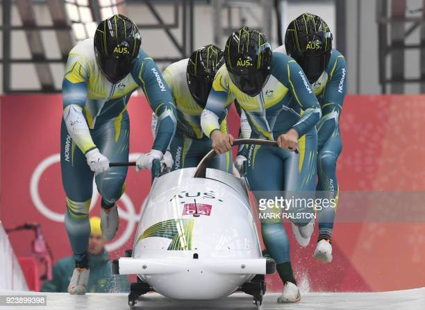 Australia's Lucas Mata leads his team in the 4-man bobsleigh heat 3 run during the Pyeongchang 2018 Winter Olympic Games, at the Olympic Sliding...